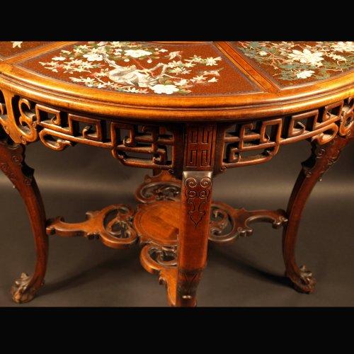 19th century - Guéridon Table  attributed to Gabriel Viardot for la Maison des Bambous.  l