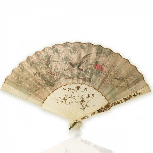 Japan, silk and shibayama ivory handfan, Meiji Period