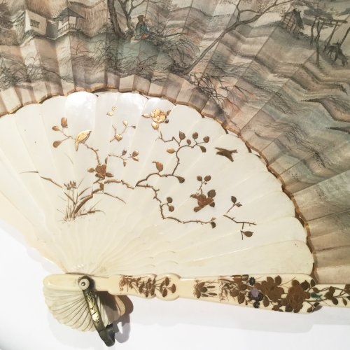 19th century - Japan, silk and shibayama ivory handfan, Meiji Period