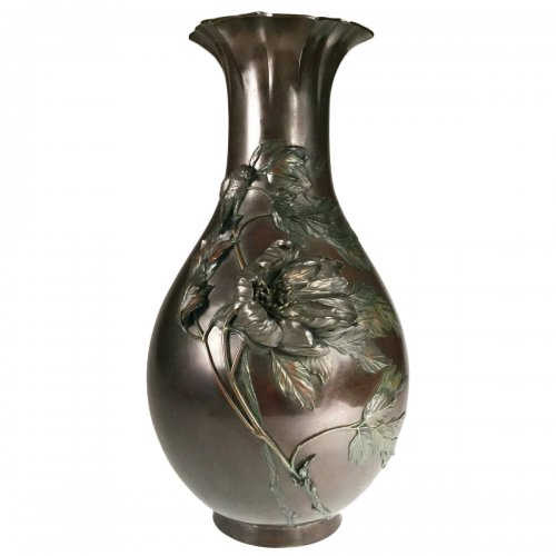 Grand vase en bronze, Japon époque Meiji