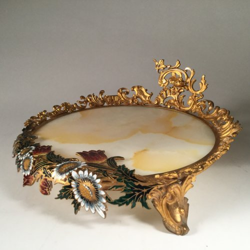 Onyx and cloisonné bronze stand, att to Eugène Cornu, circa 1870 - Decorative Objects Style