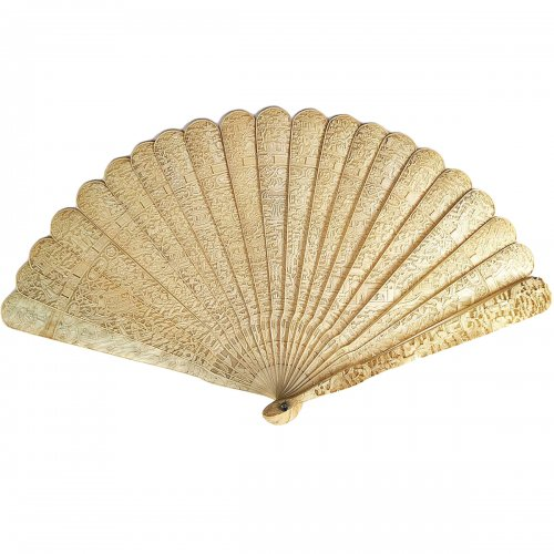 China, Unusual Chinese export ivory fan circa 1800-1820