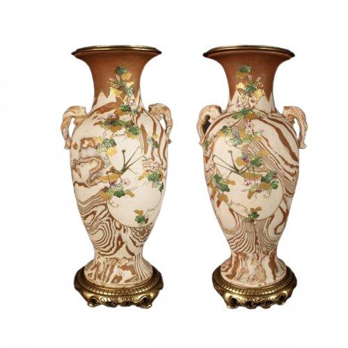 Japanese Marbled biscuit Neriage Nerikomi Banko pair of vases. Meiji period