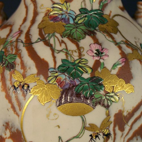 Japanese Marbled biscuit Neriage Nerikomi Banko pair of vases. Meiji period - Asian Art & Antiques Style