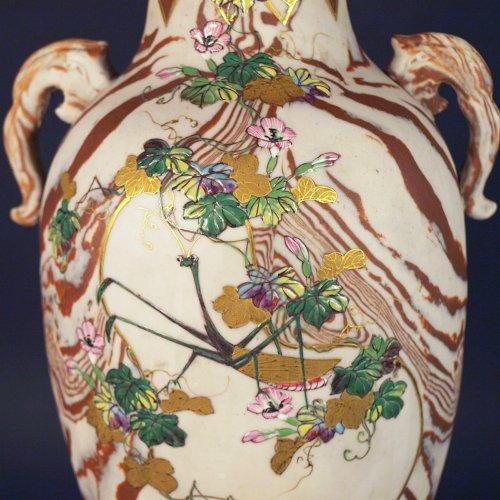 Asian Art & Antiques  - Japanese Marbled biscuit Neriage Nerikomi Banko pair of vases. Meiji period
