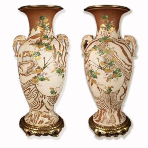 Japanese Marbled biscuit Neriage Nerikomi Banko pair of vases. Meiji period -