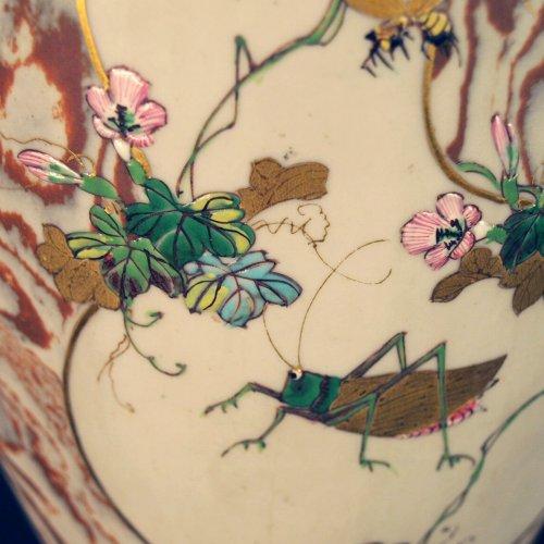 - Japanese Marbled biscuit Neriage Nerikomi Banko pair of vases. Meiji period