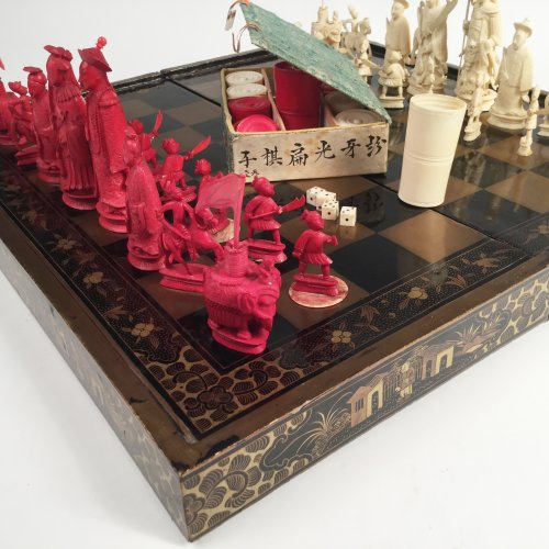 Asian Art & Antiques  - Chinese export Chess set and jacquet (Backgammon) with Lacquer folding tray