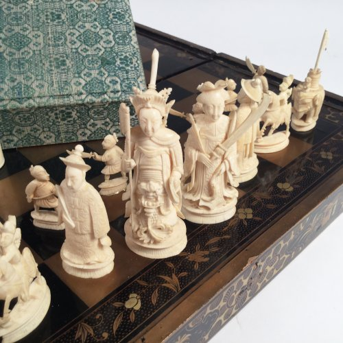 Chinese export Chess set and jacquet (Backgammon) with Lacquer folding tray -