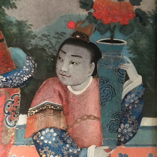 Chinese export reverse glass painting, China circa 1840-60 -