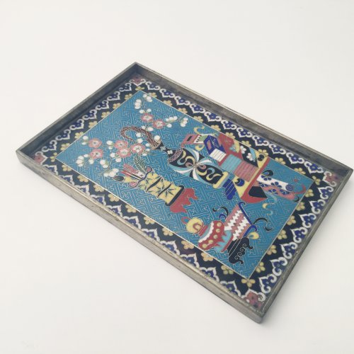 Asian Art & Antiques  - Paktong and Cloisonné opium tray, China 19th c.