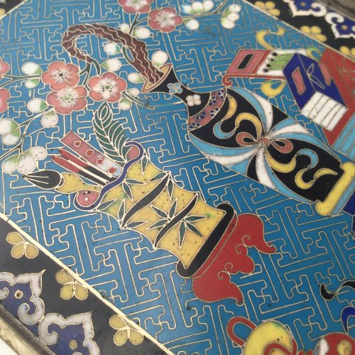 Paktong and Cloisonné opium tray, China 19th c. -