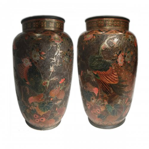 Japan, large pair of lacquer cloisonne vases on porcelain, Meiji period.