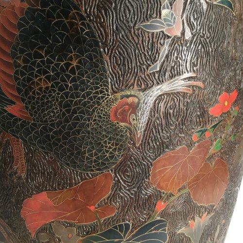 Japan, large pair of lacquer cloisonne vases on porcelain, Meiji period. - Asian Art & Antiques Style