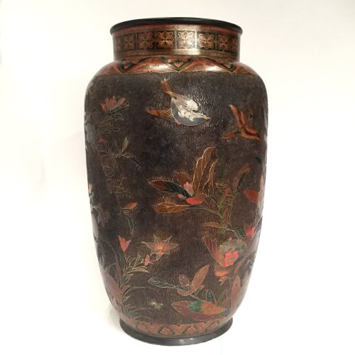 Japan, large pair of lacquer cloisonne vases on porcelain, Meiji period. -