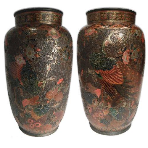 - Japan, large pair of lacquer cloisonne vases on porcelain, Meiji period.