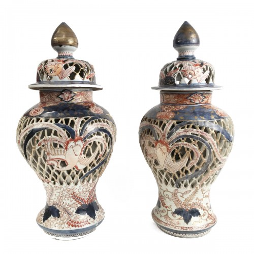 Pair of Arita Imari porcelain vases,  Japan Edo period, circa 1664-1700
