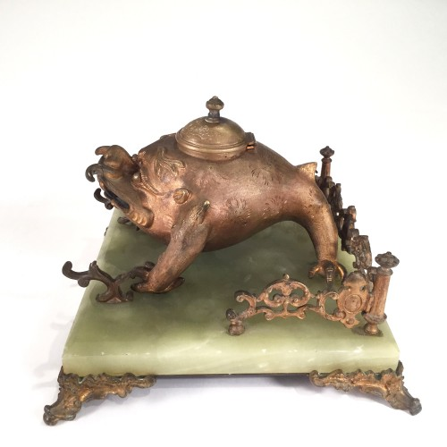 Decorative Objects  - Art Nouveau Bronze Japonism  Inkwell by Santamaria, late 19th c.