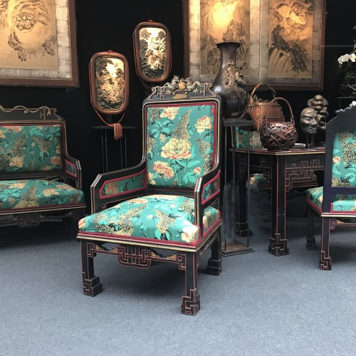 8 pieces living room set in the Japonism style, France circa 1880 -