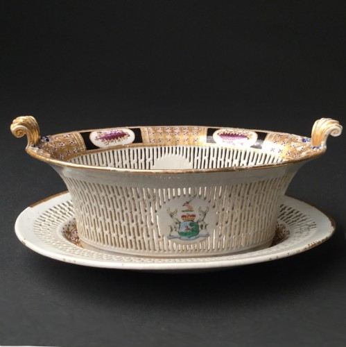 - Chinese Export armorial basket and stand, circa 1795- 1810