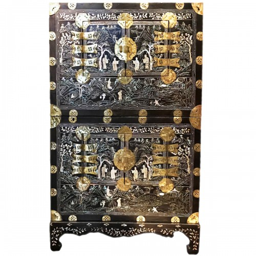 Lacquer and mother of pearl stacking chest, Korea Joseon period circa 1900