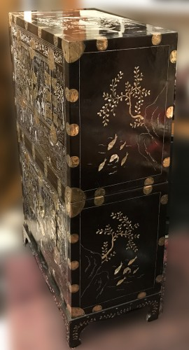 Asian Art & Antiques  - Lacquer and mother of pearl stacking chest, Korea Joseon period circa 1900