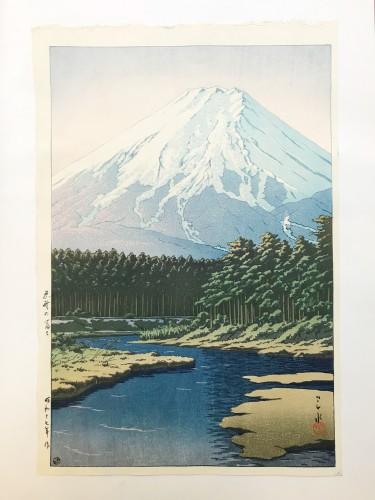 Hasui Kawase , Woodblock print,  Mount Fuji seen from Oshino, 1942