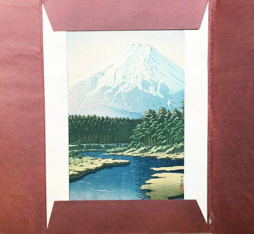 Asian Art & Antiques  -  Hasui Kawase , Woodblock print,  Mount Fuji seen from Oshino, 1942