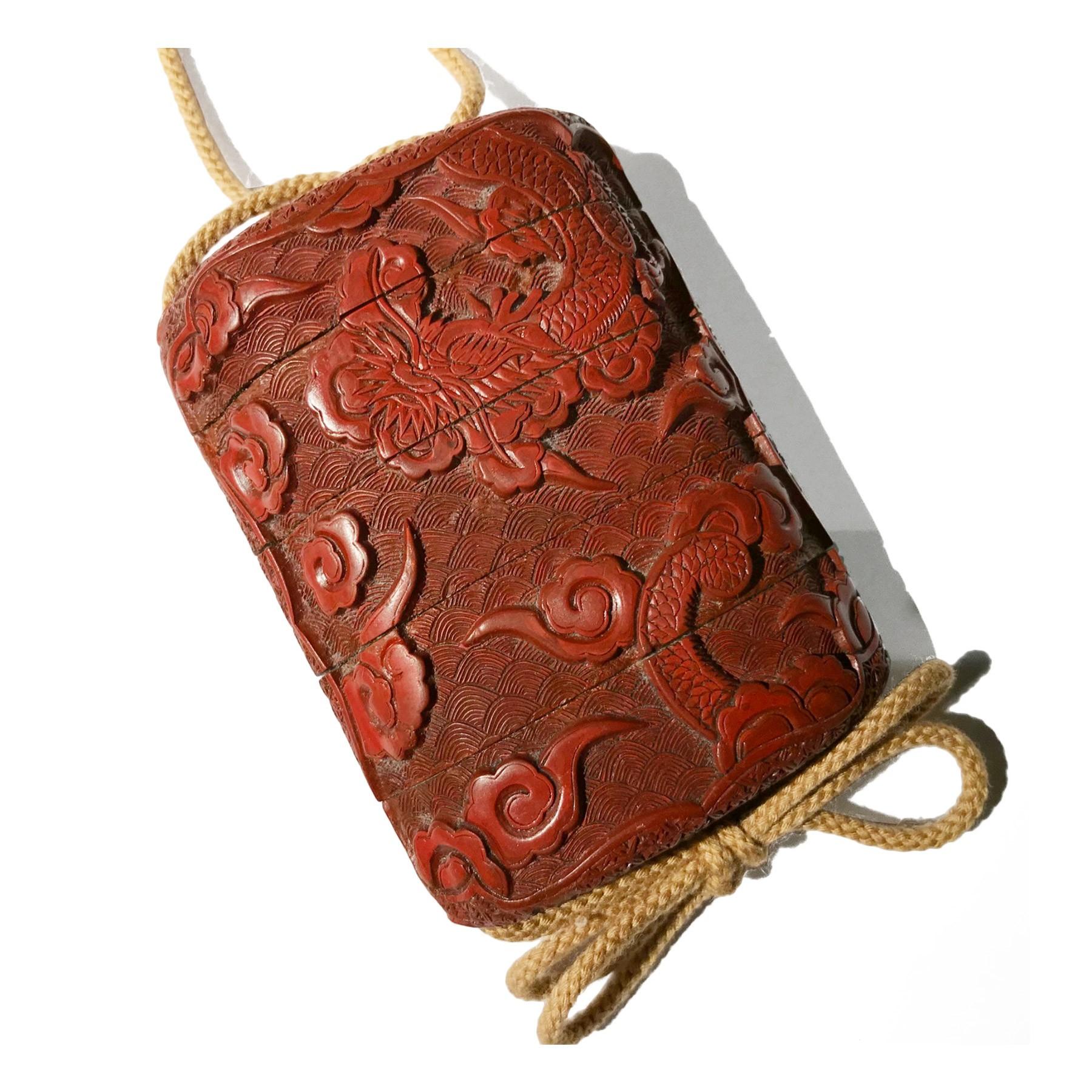 Tsuishu Red Lacquer Inro Japan Edo Period Ref 72601