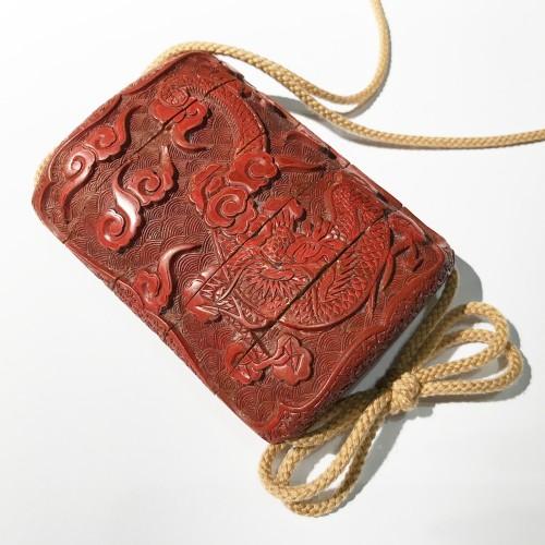 Asian Art & Antiques  - Tsuishu red lacquer  inro, Japan, Edo period