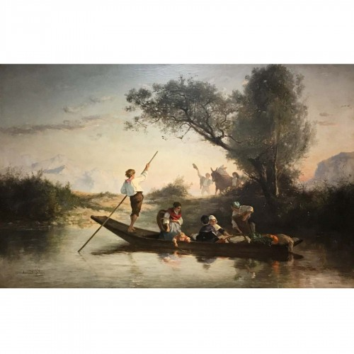Armand Leleux (1818-1885), Figures on a boat, circa 1840
