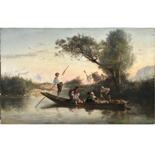 Armand Leleux (1818-1885), Figures on a boat, circa 1840 - Paintings & Drawings Style