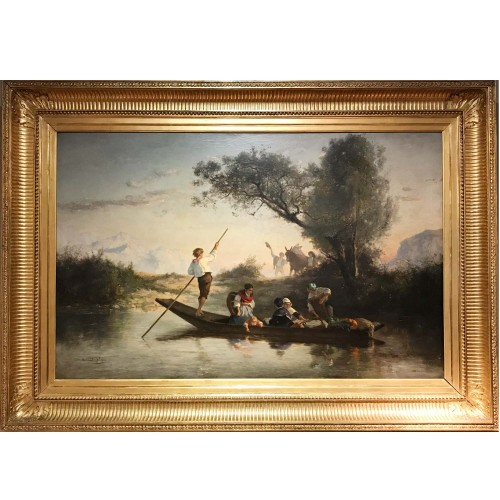 19th century - Armand Leleux (1818-1885), Figures on a boat, circa 1840