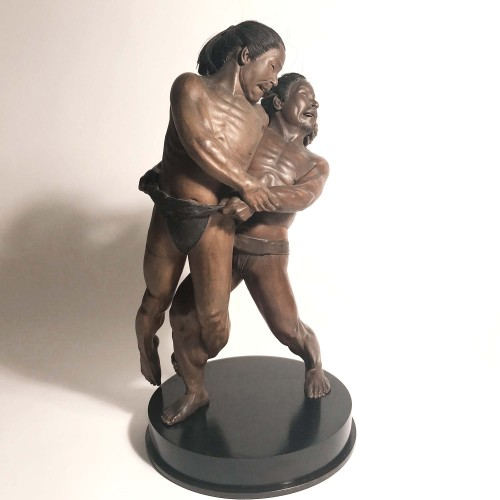 The Wrestlers, iki-ningyo, doll, Japan, Meiji,  attr to Hananuma Masakichi - Asian Art & Antiques Style