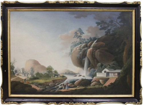 Large Chinese Export oil on canvas, att to Tingqua, circa 1830