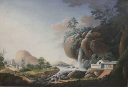 Large Chinese Export oil on canvas, att to Tingqua, circa 1830 - Asian Art & Antiques Style