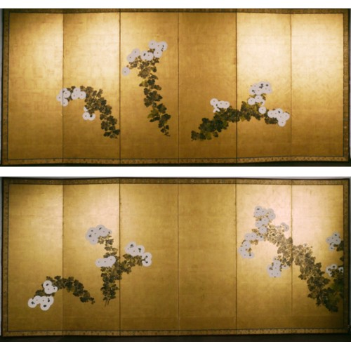 Japan, paire of folding screens, Rimpa school,  late Edo period