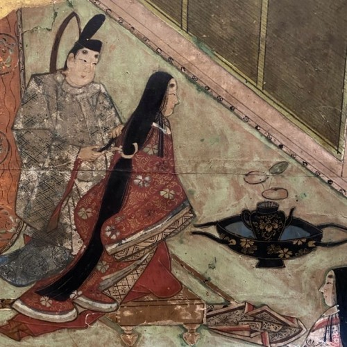 Folding screen, The Tale of Genji  Japan Edo period 17th  century -