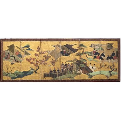 Antiquités - Folding screen, The Tale of Genji  Japan Edo period 17th  century