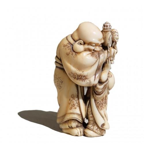 The puppeteer, netsuke by Hidemasa, Japan, Edo period, 19th c -