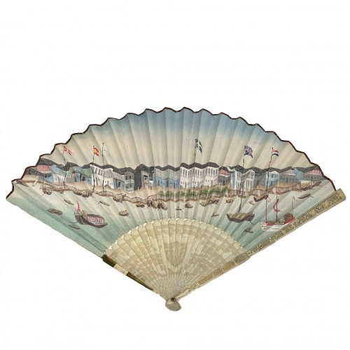 Hand fan, Foreign Factories in Canton, Late 18th c