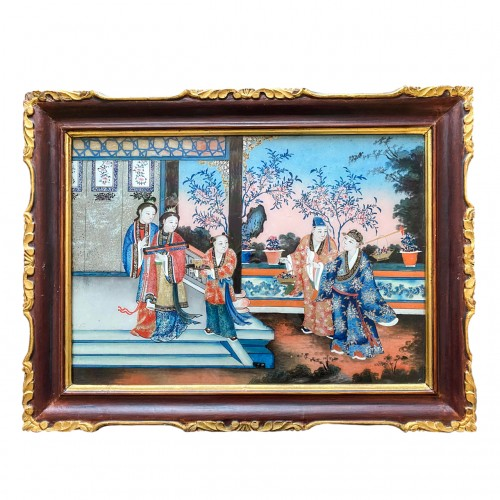 Chinese export reverse glass painting, China circa 1840-60