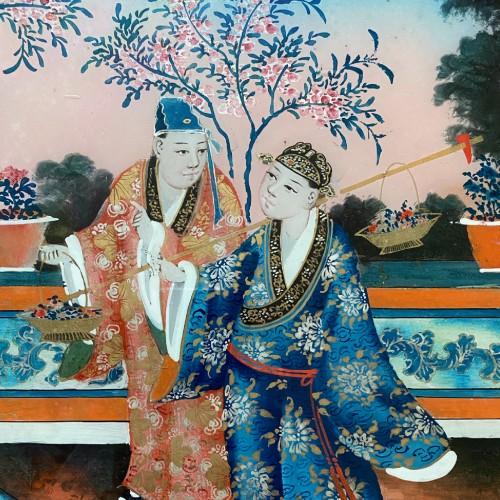 Chinese export reverse glass painting, China circa 1840-60 -