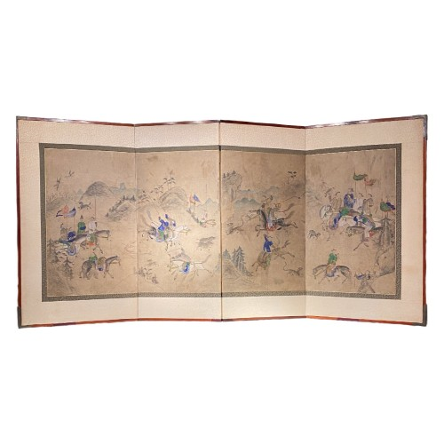 Korean folding screen, Manchurian hunting, early 19thc