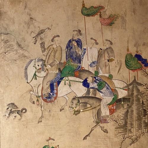 Korean folding screen, Manchurian hunting, early 19thc - Asian Art & Antiques Style