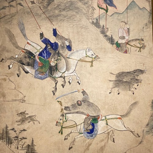 Asian Art & Antiques  - Korean folding screen, Manchurian hunting, early 19thc