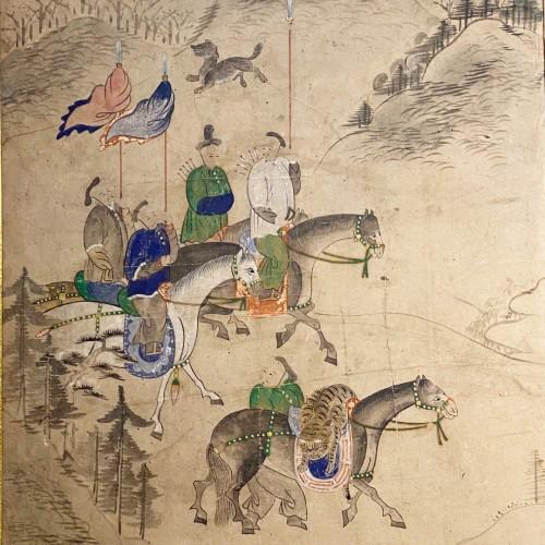 Korean folding screen, Manchurian hunting, early 19thc -
