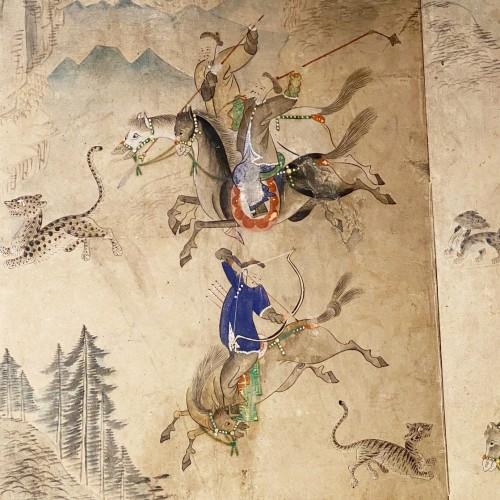 19th century - Korean folding screen, Manchurian hunting, early 19thc