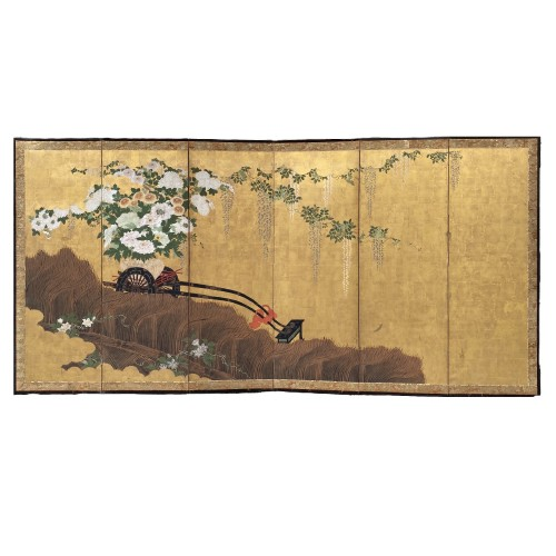 Folding screen with a cart carrying Flowers, Japan Edo period