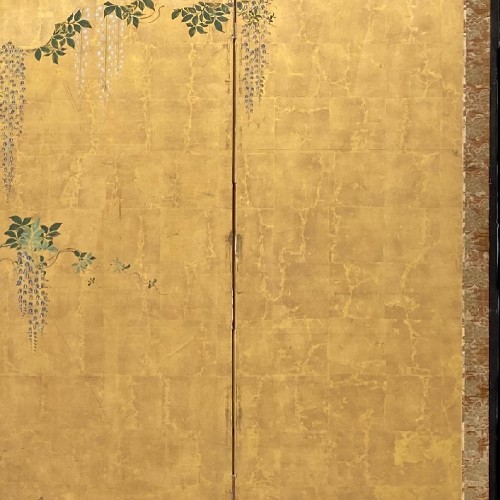 Folding screen with a cart carrying Flowers, Japan Edo period - Asian Art & Antiques Style